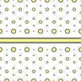 Seamless geometric pattern vector vintage retro background design with different sizes of yellow grey circles polka dots Stock Photos