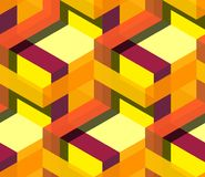 Seamless geometric pattern in warm colours. 3d illustration of Seamless graphic axonometry geometric abstract pattern composed out of cubes and rectangles with Stock Photos