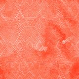 Seamless geometric pattern with a watercolor texture. Coral vint Royalty Free Stock Image