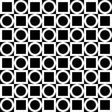Seamless geometric pattern. White circles and squares on a black background. Vector. Stock Photos