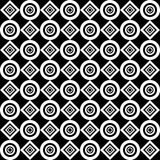 Seamless geometric pattern. White diamonds and circles on a black background. Vector. Royalty Free Stock Photography