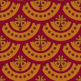 Seamless geometric pattern of yellow-red circles superimposed on each other like scales. royalty free illustration