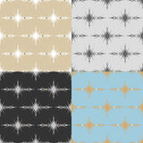 Seamless geometric patterns in boho style. Vector collection of ethnic ornaments in pastel tones Royalty Free Stock Images