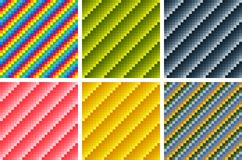 Seamless geometric patterns, combinations of various tints, opt art. Royalty Free Stock Image