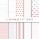 10 seamless geometric patterns. 10 Cute seamless patterns. Stylish modern vector patterns with lines and dots Vector Illustration