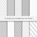 10 Seamless geometric patterns. Grey and white texture Royalty Free Stock Photography