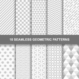 10 Seamless geometric patterns. Grey and white texture Royalty Free Illustration