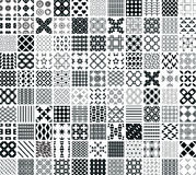 110 seamless geometric patterns. And ornaments in black and white, monochrome Royalty Free Stock Photography