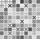 100 seamless geometric patterns and ornaments in black and white, monochrome Royalty Free Stock Photography