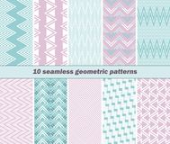 10 seamless geometric patterns in pink and blue colors Royalty Free Stock Images