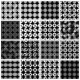 Seamless geometric patterns 6. Seamless geometric patterns, retro style black and white vector backgrounds collection, 16 examples set Stock Photo