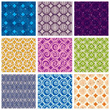 Seamless geometric patterns 2. Seamless geometric patterns, retro style black and white vector backgrounds collection, 16 examples set Stock Photo