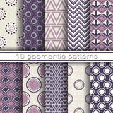 10 Seamless Geometric Patterns. Set of 10 Seamless Geometric Patterns Stock Illustration