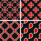 Seamless geometric patterns. Set of black 3d backgrounds with red elements. Vector illustration stock illustration
