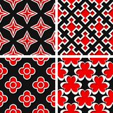 Seamless geometric patterns. Set of black 3d backgrounds with red elements. Vector illustration royalty free illustration