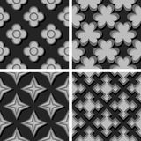 Seamless geometric patterns. Set of black and gray 3d backgrounds. Vector illustration royalty free illustration