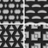Seamless geometric patterns. Set of black and gray 3d backgrounds. Vector illustration stock illustration