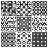 Seamless geometric patterns set. Stock Photo