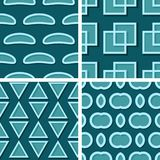 Seamless geometric patterns. Set of blue green 3d backgrounds. Vector illustration Royalty Free Stock Image