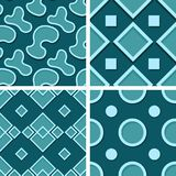 Seamless geometric patterns. Set of blue green 3d backgrounds. Vector illustration Stock Photography