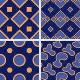 Seamless geometric patterns. Set of deep blue 3d backgrounds with orange elements. Vector illustration royalty free illustration