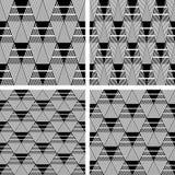 Seamless geometric patterns set. Triangle and diamond shapes patterns. Seamless geometric textures set. Vector art Stock Photo