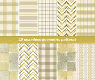 10 seamless geometric patterns. Set of 10 various seamless geometric patterns. Pleasant warm colors. Vector illustration for various creative projects Vector Illustration