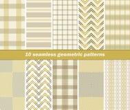 10 seamless geometric patterns Stock Photography