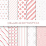 10 seamless geometric patterns. 10 Seamless patterns. Stylish modern vector patterns with lines and dots Stock Illustration