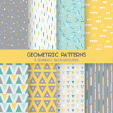 8 Seamless Geometric Patterns. Texture for wallpaper, background, textile, scrapbook - in vector vector illustration
