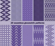 10 seamless geometric patterns in violet color. Set of 10 different seamless geometric patterns in violet color. Vector illustration for various creative Stock Illustration