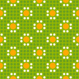 Seamless geometric polka dot pattern. Seamless geometric of polka dot pattern with daisies. Vector illustration Royalty Free Illustration
