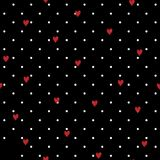Seamless geometric polkadot pattern with red hand drawing hearts. Vector repeating texture on black Stock Photo