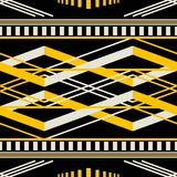 Seamless geometric retro pattern in black, yellow, dusty white c. Seamless geometric pattern with wide horizontal stripes. Black, yellow, dusty white colors Royalty Free Stock Images