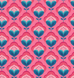Seamless geometric retro pattern with flowers. Vector illustration Royalty Free Stock Images