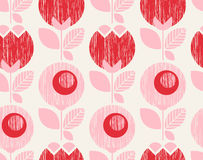 Seamless geometric retro pattern with flowers. Vector illustration Stock Photography