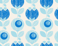 Seamless geometric retro pattern with flowers. Vector illustration Stock Image