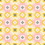Seamless geometric retro pattern with flowers. Vector illustration Royalty Free Stock Photography
