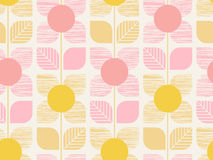 Seamless geometric retro pattern with leaves and flowers Royalty Free Stock Image
