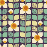 Seamless geometric retro pattern with leaves and flowers. Vector illustration Royalty Free Stock Photo