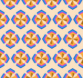 Seamless geometric symmetry 3d abstract pattern. Creative geometric ornament on color background. For design, wallpaper, cover invitation, fabric. Vector Stock Photography