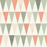 Seamless Geometric Texture with Peach-Pink and Grey Triangles Royalty Free Stock Photos