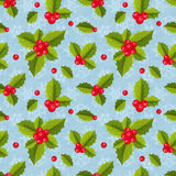 Seamless geometric tiling pattern with holly Stock Photos