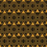 Seamless geometric tribal ethnic pattern contrasting colors. Seamless geometric tribal pattern of triangles and dots. Abstract ethnic vector print. Black, orange Stock Photos