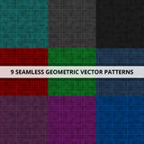 9 Seamless geometric vector patterns. Abstract background. 9 Seamless geometric vector patterns Abstract background stock illustration