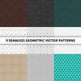 9 Seamless geometric vector patterns. Abstract background. 9 Seamless geometric vector patterns Abstract background vector illustration