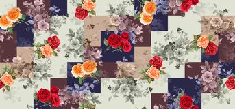 Seamless geometric vintage background with flowers vector illustration