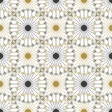 Seamless geometric vintage black and gold circle pattern. Vector texture Royalty Free Stock Images