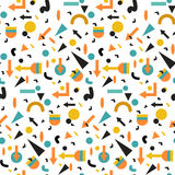 Seamless geometric vintage pattern in retro 80s style, memphis. for fabric design, paper print and website backdrop Stock Image