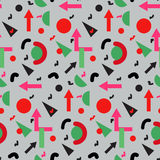 Seamless geometric vintage pattern in retro 80s style, memphis. for fabric design, paper print and website backdrop Stock Photos